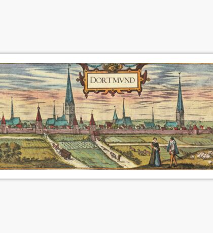 Dortmund Vintage map.Geography Germany ,city view,building,political,Lithography,historical fashion,geo design,Cartography,Country,Science,history,urban Sticker