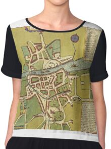 Dublin Vintage map.Geography Irland ,city view,building,political,Lithography,historical fashion,geo design,Cartography,Country,Science,history,urban Chiffon Top