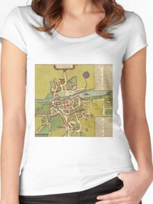 Dublin Vintage map.Geography Irland ,city view,building,political,Lithography,historical fashion,geo design,Cartography,Country,Science,history,urban Women's Fitted Scoop T-Shirt
