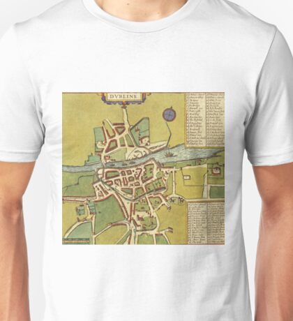 Dublin Vintage map.Geography Irland ,city view,building,political,Lithography,historical fashion,geo design,Cartography,Country,Science,history,urban Unisex T-Shirt