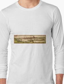 Dunkerque Vintage map.Geography France ,city view,building,political,Lithography,historical fashion,geo design,Cartography,Country,Science,history,urban Long Sleeve T-Shirt