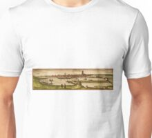 Dunkerque Vintage map.Geography France ,city view,building,political,Lithography,historical fashion,geo design,Cartography,Country,Science,history,urban Unisex T-Shirt