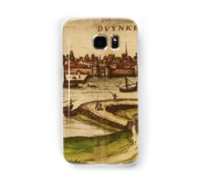 Dunkerque Vintage map.Geography France ,city view,building,political,Lithography,historical fashion,geo design,Cartography,Country,Science,history,urban Samsung Galaxy Case/Skin