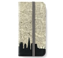 London Skyline over Vintage map iPhone Wallet/Case/Skin
