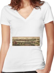 Ecija Vintage map.Geography Spain ,city view,building,political,Lithography,historical fashion,geo design,Cartography,Country,Science,history,urban Women's Fitted V-Neck T-Shirt