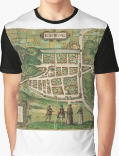 Edinburgh Vintage map.Geography Great Britain ,city view,building,political,Lithography,historical fashion,geo design,Cartography,Country,Science,history,urban Graphic T-Shirt