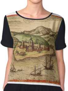 Elmina Vintage map.Geography Africa ,city view,building,political,Lithography,historical fashion,geo design,Cartography,Country,Science,history,urban Chiffon Top