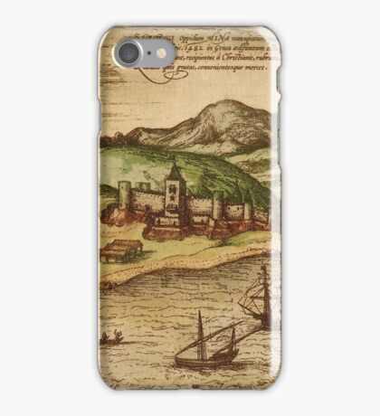 Elmina Vintage map.Geography Africa ,city view,building,political,Lithography,historical fashion,geo design,Cartography,Country,Science,history,urban iPhone Case/Skin