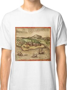 Elmina Vintage map.Geography Africa ,city view,building,political,Lithography,historical fashion,geo design,Cartography,Country,Science,history,urban Classic T-Shirt