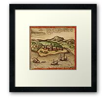 Elmina Vintage map.Geography Africa ,city view,building,political,Lithography,historical fashion,geo design,Cartography,Country,Science,history,urban Framed Print