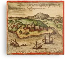 Elmina Vintage map.Geography Africa ,city view,building,political,Lithography,historical fashion,geo design,Cartography,Country,Science,history,urban Metal Print