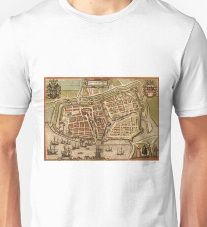 Emden Vintage map.Geography Germany ,city view,building,political,Lithography,historical fashion,geo design,Cartography,Country,Science,history,urban Unisex T-Shirt