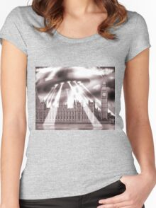 UFO Over London (Sepia) Women's Fitted Scoop T-Shirt