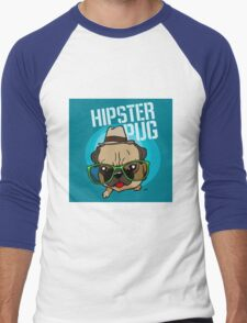 Hipster Pug cartoon Men's Baseball ¾ T-Shirt