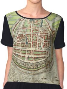Enkhusen Vintage map.Geography Netherlands ,city view,building,political,Lithography,historical fashion,geo design,Cartography,Country,Science,history,urban Chiffon Top