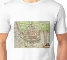 Enkhusen Vintage map.Geography Netherlands ,city view,building,political,Lithography,historical fashion,geo design,Cartography,Country,Science,history,urban Unisex T-Shirt