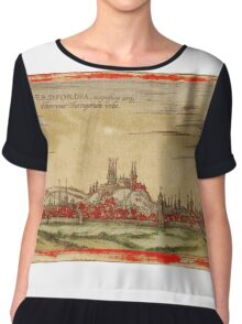 Erfurt Vintage map.Geography Germany ,city view,building,political,Lithography,historical fashion,geo design,Cartography,Country,Science,history,urban Chiffon Top