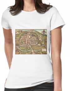 Exeter Vintage map.Geography Great Britain ,city view,building,political,Lithography,historical fashion,geo design,Cartography,Country,Science,history,urban Womens Fitted T-Shirt