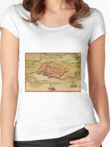 Famagusta Vintage map.Geography Northern Cyprus ,city view,building,political,Lithography,historical fashion,geo design,Cartography,Country,Science,history,urban Women's Fitted Scoop T-Shirt