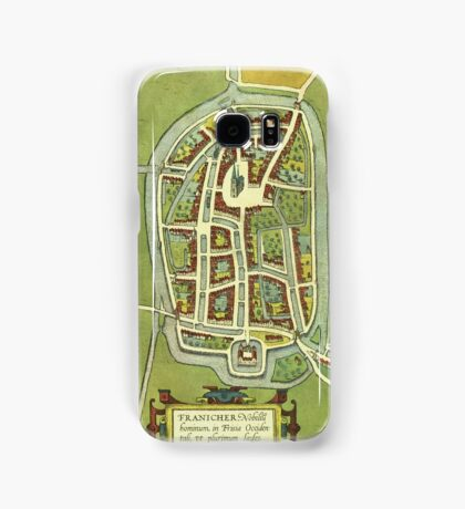Franeker Vintage map.Geography Netherlands ,city view,building,political,Lithography,historical fashion,geo design,Cartography,Country,Science,history,urban Samsung Galaxy Case/Skin