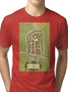 Franeker Vintage map.Geography Netherlands ,city view,building,political,Lithography,historical fashion,geo design,Cartography,Country,Science,history,urban Tri-blend T-Shirt