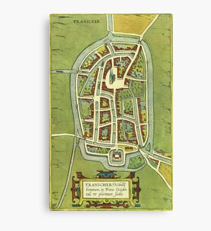 Franeker Vintage map.Geography Netherlands ,city view,building,political,Lithography,historical fashion,geo design,Cartography,Country,Science,history,urban Canvas Print