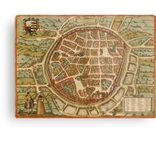 Freiberg Vintage map.Geography Germany ,city view,building,political,Lithography,historical fashion,geo design,Cartography,Country,Science,history,urban Metal Print