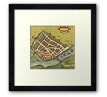 Galway Vintage map.Geography Irland ,city view,building,political,Lithography,historical fashion,geo design,Cartography,Country,Science,history,urban Framed Print