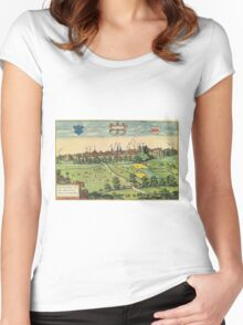 Bethune Vintage map.Geography France ,city view,building,political,Lithography,historical fashion,geo design,Cartography,Country,Science,history,urban Women's Fitted Scoop T-Shirt