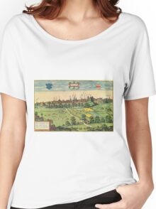 Bethune Vintage map.Geography France ,city view,building,political,Lithography,historical fashion,geo design,Cartography,Country,Science,history,urban Women's Relaxed Fit T-Shirt