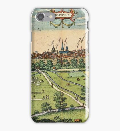 Bethune Vintage map.Geography France ,city view,building,political,Lithography,historical fashion,geo design,Cartography,Country,Science,history,urban iPhone Case/Skin