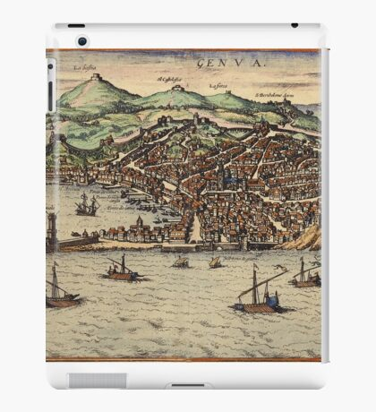 Genova Vintage map.Geography Switzerland ,city view,building,political,Lithography,historical fashion,geo design,Cartography,Country,Science,history,urban iPad Case/Skin