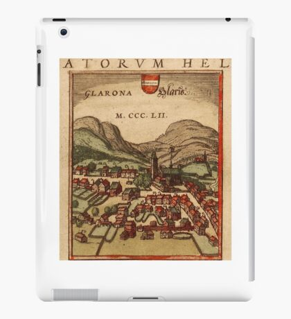 Glarus Vintage map.Geography Switzerland ,city view,building,political,Lithography,historical fashion,geo design,Cartography,Country,Science,history,urban iPad Case/Skin