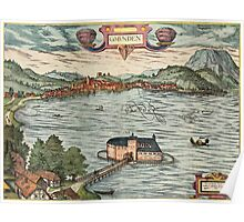Gmunden Vintage map.Geography Austria ,city view,building,political,Lithography,historical fashion,geo design,Cartography,Country,Science,history,urban Poster