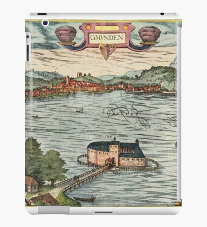 Gmunden Vintage map.Geography Austria ,city view,building,political,Lithography,historical fashion,geo design,Cartography,Country,Science,history,urban iPad Case/Skin