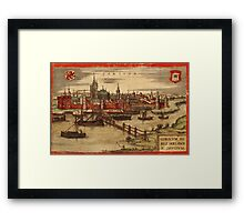 Gorinchem Vintage map.Geography Netherlands ,city view,building,political,Lithography,historical fashion,geo design,Cartography,Country,Science,history,urban Framed Print
