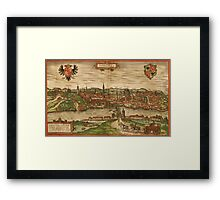 Gorlitz Vintage map.Geography Germany ,city view,building,political,Lithography,historical fashion,geo design,Cartography,Country,Science,history,urban Framed Print