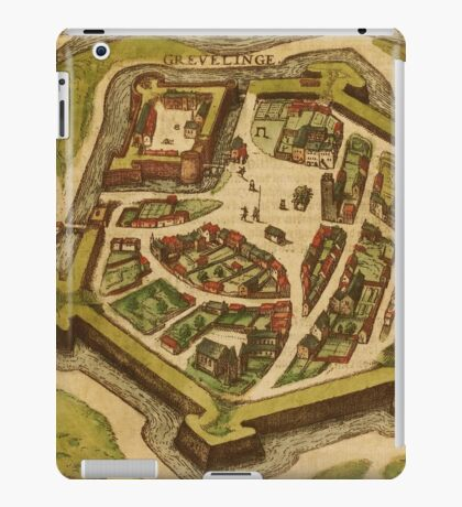Gravelines Vintage map.Geography France ,city view,building,political,Lithography,historical fashion,geo design,Cartography,Country,Science,history,urban iPad Case/Skin