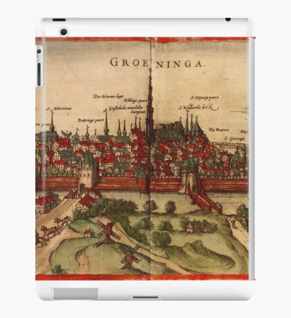 Groningen Vintage map.Geography Netherlands ,city view,building,political,Lithography,historical fashion,geo design,Cartography,Country,Science,history,urban iPad Case/Skin