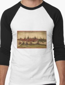 Hansa Vintage map.Geography Sweden ,city view,building,political,Lithography,historical fashion,geo design,Cartography,Country,Science,history,urban Men's Baseball ¾ T-Shirt