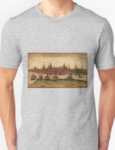 Hansa Vintage map.Geography Sweden ,city view,building,political,Lithography,historical fashion,geo design,Cartography,Country,Science,history,urban Unisex T-Shirt