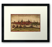 Hansa Vintage map.Geography Sweden ,city view,building,political,Lithography,historical fashion,geo design,Cartography,Country,Science,history,urban Framed Print