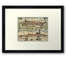 Harderwijk Vintage map.Geography Netherlands ,city view,building,political,Lithography,historical fashion,geo design,Cartography,Country,Science,history,urban Framed Print