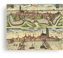 Harderwijk Vintage map.Geography Netherlands ,city view,building,political,Lithography,historical fashion,geo design,Cartography,Country,Science,history,urban Canvas Print