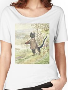 Hunting Black Cat by Beatrix Potter Women's Relaxed Fit T-Shirt