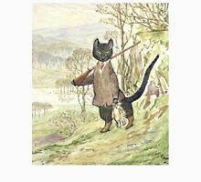 Hunting Black Cat by Beatrix Potter Womens Fitted T-Shirt