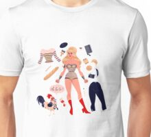 French Super Hero Paper Doll Unisex T-Shirt