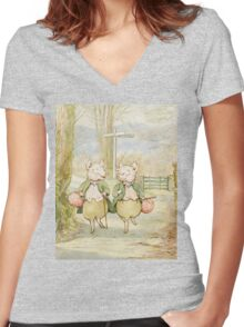 2 little pigs by Beatrix Potter Women's Fitted V-Neck T-Shirt