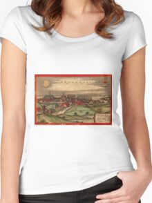 Brouwershaven Vintage map.Geography Netherlands ,city view,building,political,Lithography,historical fashion,geo design,Cartography,Country,Science,history,urban Women's Fitted Scoop T-Shirt