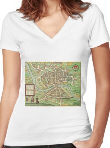 Bristol Vintage map.Geography Great Britain ,city view,building,political,Lithography,historical fashion,geo design,Cartography,Country,Science,history,urban Women's Fitted V-Neck T-Shirt
